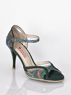 Women's tango shoe - Pine green & Lilium print