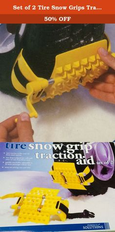 Set of 2 Tire Snow Grips Traction Aids. Pack the traction action you need to free your vehicle from snow drifts and icy patterns. These deep-sculpted tire cuffs attach quickly to driving wheels, allowing you to use gentle acceleration to pull your car out of problem areas. Constructed of road-tough high-impact plastic. Adjustable to fit most passenger cars, pick-ups, vans, SUV's and CUV's with tire sizes ranging from 175/50/13 to 235/75/16. Comes with a convenient carry puch to easily…