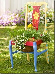"""Re-purpose an old chair into a pretty planter"""