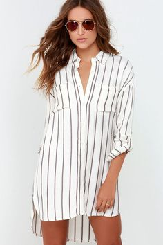 HisandHerFashion Gentle Fawn Voyage Cream Striped Shirt Dress
