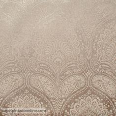 Papel Pintado Milan CO00112, arcos damascos en marrón y dorado.