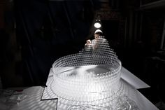 Hand Crafted Chandelier Made With 8,000 Clear LEGO Pieces