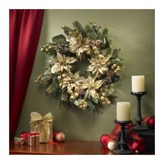 """Nearly Natural 24"""" Golden Poinsettia Wreath 24 in."""