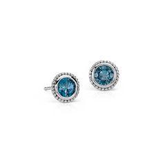 London Blue Topaz Milgrain Stud Earrings in Sterling Silver (5mm)
