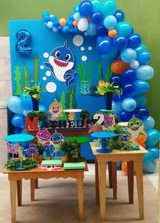 Cute under the sea balloon decoration. Shark Birthday Cakes, Baby Boy 1st Birthday Party, 2nd Birthday Party Themes, Shark Party Decorations, Birthday Party Decorations, Baby Shark, Baby Baby, Balloons, Google