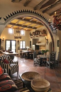 Stylish Southwestern Hacienda Living Room Love The Accent Paint Around The Archway