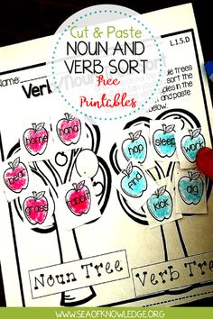 These Noun and Verb Cut and Paste Interactive FREE Worksheets! kids reading and sorting nouns and verbs and create a great looking graphic organiser! Verb Activities For First Grade, Nouns First Grade, 1st Grade Writing, Grammar Activities, Interactive Activities, Teaching Resources, Teaching Ideas, Nouns Kindergarten, Verbs For Kids