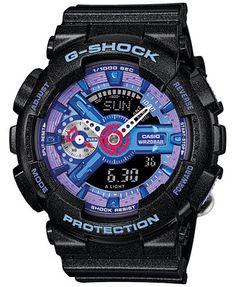 Casio G-Shock Purple Dial Black Resin Quartz Male Watch Shock resistant wrist watch. G Shock Watches, Casio G Shock, Sport Watches, Cool Watches, Watches For Men, Wrist Watches, Men's Watches, Analog Watches, Black Watches