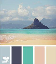 Coastal and Beach Decor: Coastal Decor Color Palette - Mental Vacation Beach Color Schemes, Colour Schemes, Color Combos, Beach Color Palettes, Relaxing Colors, Beachy Colors, Coastal Colors, Colour Pallette, Color Azul