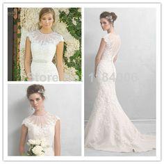 New Elegant Sexy Mermaid scoop cap sleeve Wedding Dresses 2014  XK-068 $168.99