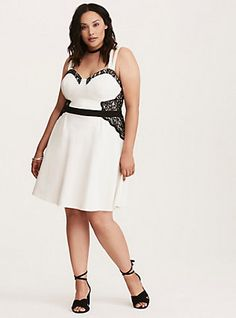 77ad373ee83 Plus Size Lace Trim Bustier Strappy Skater Dress