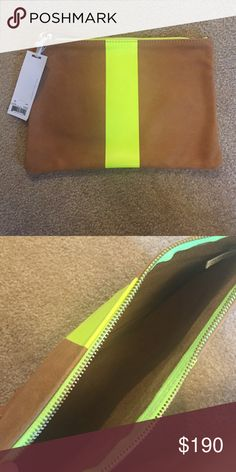 "Theory Clare Vivier flat clutch Tan Genuine leather striped with neon yellow. 8"" x 11.5"" . Brand New Theory Bags Clutches & Wristlets"