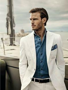 White suit, indigo shirt