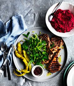Australian Gourmet Traveller recipe for sumac lamb cutlets with beetroot hummus. Beetroot Hummus Recipe, Beetroot Recipes, Lamb Recipes, Meat Recipes, Dinner Recipes, Healthy Recipes, Healthy Foods, Dinner Ideas