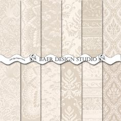 DIGITAL PAPER SALE: Ivory and Taupe Damask by BaerDesignStudio