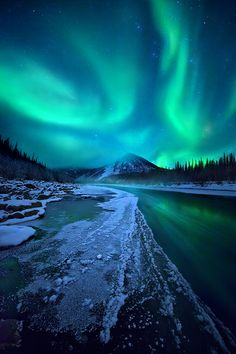 Midnight Magic Ogilvie River, Yukon By Marc Adamus ( Aurora )