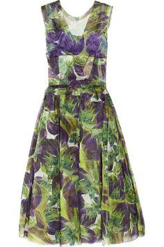 Dolce & Gabbana Eggplant-print silk-organza dress
