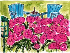 Fifi Flowers Painting du Jour Gallery: Peony Wine Garden