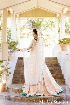 Before her beautiful Pakistani wedding ceremony, this bride gets all dolled up with glamorous hair and makeup.