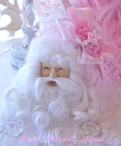 Pink Roses Santa Head