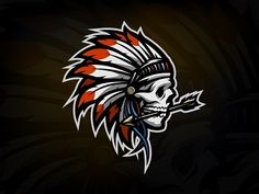 by Maks on Dribbble Mascot Design, Logo Design, Graphic Design, Pin Up Drawings, Indian Skull, Spyro The Dragon, Grafiti, Shield Logo, Creative Logo