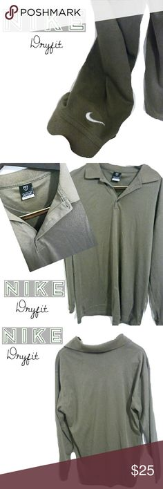 NIKE Fit Dry Long Sleeve Collared Shirt This NIKE Fit Dry is in Excellent condition! Long Sleeve, collared and in the great color of an olive green. This is a golf polo and retails around $64.99! At this price, it can not be beat! Will look awesome with jeans or with khakis! Wear day or night! Make an offer or hit buy now! Nike Shirts
