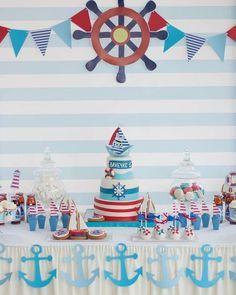 Birthday themes for boys, baby boy birthday, anchor birthday, nautical cake Anchor Birthday, Sailor Birthday, Sailor Party, Sailor Theme, 1st Boy Birthday, Birthday Party Themes, Birthday Ideas, Birthday Table, Baby Shower Backdrop