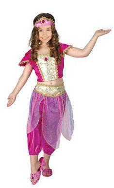 Rouge Princesse Jasmine Exotique Arabe 4-10 ans filles Costume Robe Fantaisie Enfant