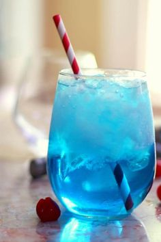 Sex in the Driveway is the perfect summer cocktail! I love the blue color of this sweet vodka drink. From RestlessChipotle.com