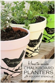 Stenciled Chalkboard Flower Pots. Great idea for writing seasonal items on. Probably best for indoors only.