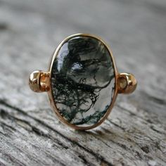 I'd Wear That / Mystical moss agate ring rose pink gold jewelry by sarantos Gold Jewelry, Jewelry Box, Jewelry Rings, Jewelry Accessories, Jewelry Design, Unique Jewelry, Jewellery, Agate Jewelry, Trendy Accessories