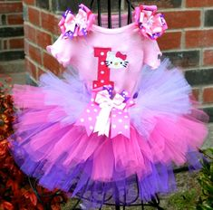 Hello Kitty Pink & Purple Birthday Personalized  Polkadottie Tutu Set-