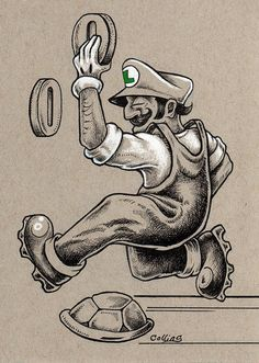 "Luigi by Bryan Collins ~ 5""x7"" ink and colored pencil on gray paper ~ http://www.useeverycolor.com"