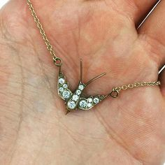 This delicate swallow necklace by @singlestonela represents everlasting love and…