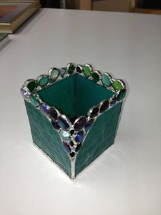 Teal Green 4x4 stained glass candle holder with by RightAngleArt, $45.00
