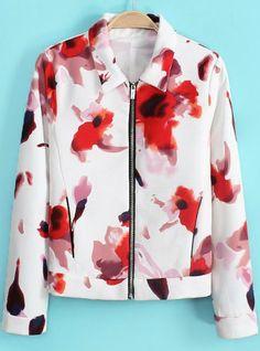 Jacke mit Blumenmuster und Reißverschluss, weiß 22.67 Blumenmuster, Jacken,  Stylische Männer, Blumenjacke 2a1dcc999c