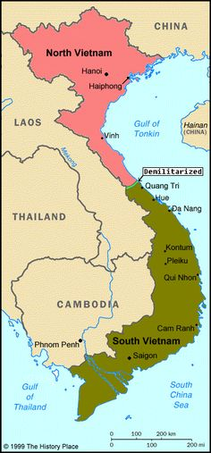 Map of divided Vietnam during the US engagement in Southeast Asia