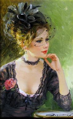 Women in paintings by Russian artist Konstantin Razumov