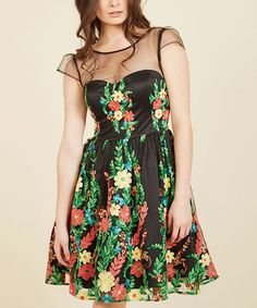 Another great find on #zulily! Black Floral Expressive Embroidery Fit & Flare Dress #zulilyfinds