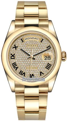 d30cb33e684 Rolex Day-Date 36mm Yellow Gold Domed Bezel 118208 Pave Diamond Black Roman  Oyster