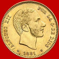 España - Alfonso XII - 25 pesetas de oro - 1881 - Madrid