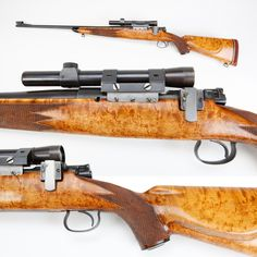 Winchester Model 54 rifle - This Winchester Model 54 sporter has a nice birdseye maple stock that definitely isn't factory configuration, but some lucky shooter wound up with a very good-looking rifle none the less. This bolt-action model was only offered by the Winchester factory for eleven years (1925-1936) and just over 50 thousand were to be made. At the NRA National Firearms Museum in Fairfax, VA http://goo.gl/Dn3V0M