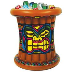 Inflatable Tiki Cooler, Multicolor