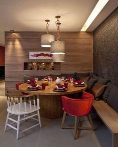 Composição linda com opção de banco linear, para varanda gourmet!mesa redonda! Ficou divino!!! Projeto  #blogfabiarquiteta #fabiarquiteta