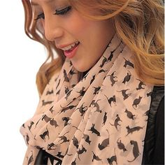 Silhouette Cat Print Fashion Scarf