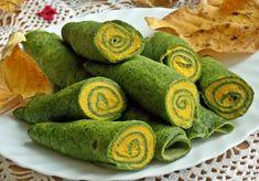 Szpinakowe naleśniki z dynią i ricottą - DoradcaSmaku.pl Party Snacks, Ricotta, Food Inspiration, Catering, Watermelon, Veggies, Food And Drink, Fruit, Cooking