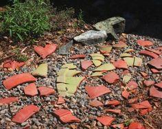 Using 'found' broken pots in the garden   Flea Market Gardening