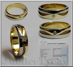 #Złoty #pierścionek #obrączka z #Diamentem #Złoto 585 #Brylant #Obrączki #Brylanty #Diament #Jubiler #Tychy #Złotnik