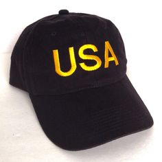 new vtg USA HAT Black/Yellow United States of America Army Military Men/Women #YoungAn #BaseballCap