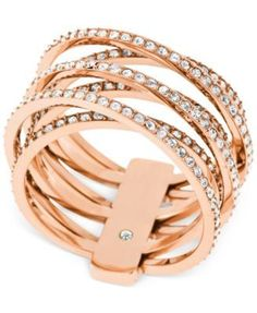 Michael Kors Clear Stone Crisscross Ring